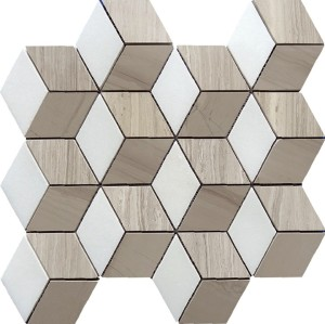 Illusion 3D  Marble Mosaic Tile, Thassos white&wooden grey&athens grey mix