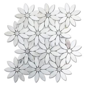Oriental white flower Marble Mosaic Tile