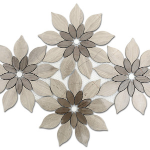Athens gray and Wooden beige mix floral pattern Marble Mosaic Tile,Polished