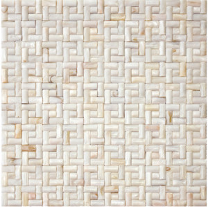 Seamless 3D Spanish Bond Natural River shell Mosaic Tile