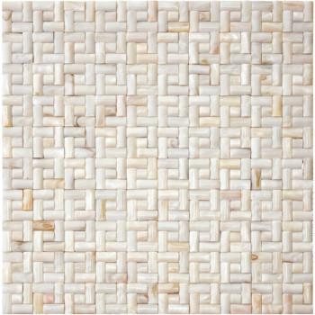 Seamless 3D Spanish Bond Natural River shell Mosaic Tile