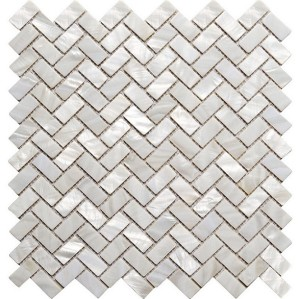 White Natural River shell Mosaic Tile,45 degree herringbone