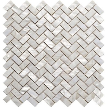 White Natural River shell Mosaic Tile,45 degree herringbone