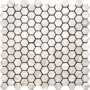 Hexagon Natural white Mother of Pearl  Mosaic Tile,Polished
