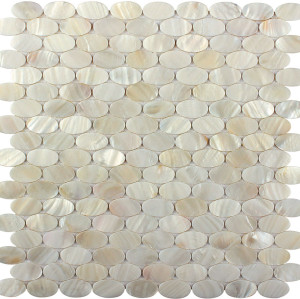 Oval Natural Mother of Pearl  Mosaic Tile,Polished