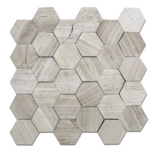 premium grade white Wood grain, hexgaon Marble Mosaic Tile,seamless
