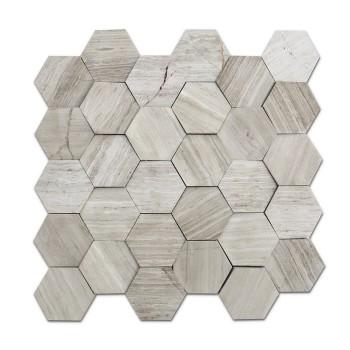 premium grade white Wood grain, hexgaon Marble Mosaic Tile,seamless