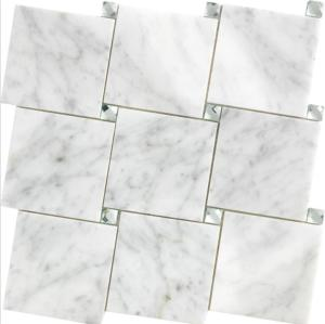 Interlocking White Carrara with Diamond Mirror glass Dots