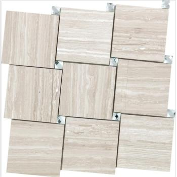 Basket Weave Wooden beige with shinning Mirror Dots Mosaic Tile