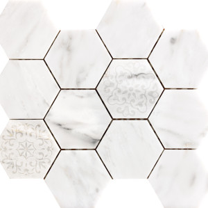 3''x 3'' Bianco White Carrara ,Embossed Hexagon Polished Marble Mosaic