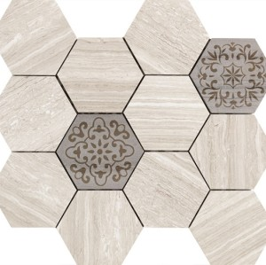 3''x 3'' hexagon Marble Mosaic tile  Wooden Beige with Embossed  marble chip,