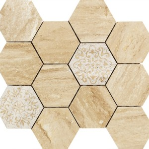 3''x 3'' Travertine Hexagon Marble Mosaic