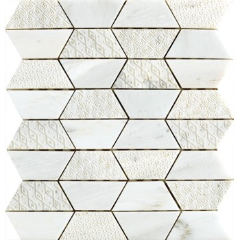 Trapezoidal Marble mosaic tile,  Oriental White Marble with Texture