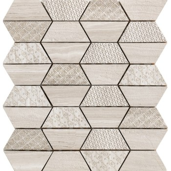 Trapezoid Mosaic Tile, Wooden Beige and textured stone Mix