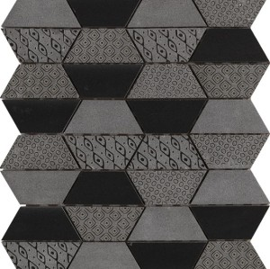 Trapezoid  Black Marble Mosaic Tile, Nero and textured stone Mix