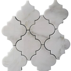 Arabesque shape White Carrara Water Jet Mosaic Tile