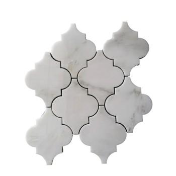 Arabesque shape White Carrara Water Jet Mosaic Tile