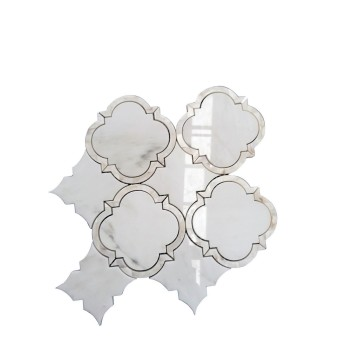 Arabesque shape White Carrara  interweaved with Mother of Pearl Bridge