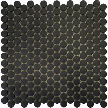 Non-Slip Matte Black Penny Round Porcelain Mosaic Tile