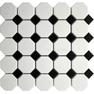 White Octagon with Black Dots Porcelain Mosaic Tile