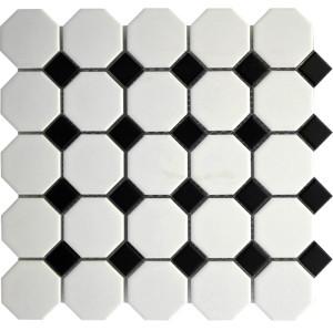 White Octagon with Black Dots Porcelain Mosaic Tile