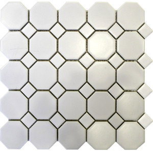 White Octagon Porcelain Mosaic Tile