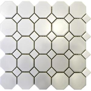 White Octagon Porcelain Mosaic Tile