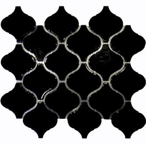Black Arabesque shaped Porcelain Mosaic Tile, Glossy