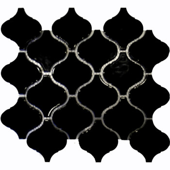 Black Arabesque shaped Porcelain Mosaic Tile, Glossy