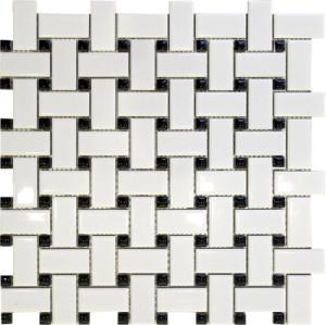 Basket Weave White with Black Dots, Porcelain Mosaic Tile