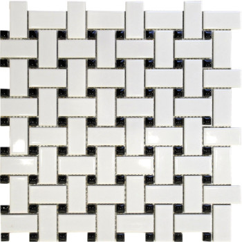 Basket Weave White with Black Dots, Porcelain Mosaic Tile