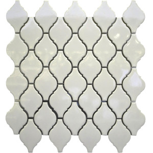 White Arabesque shaped Porcelain Mosaic Tile, Glossy
