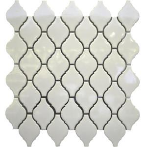 White Arabesque shaped Porcelain Mosaic Tile, Glossy