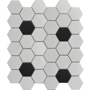 White 2D hexagon Porcelain Mosaic Tile