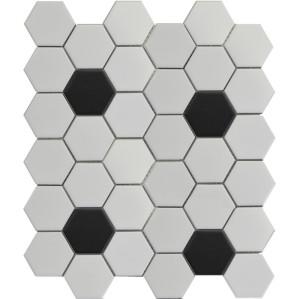 White 2D hexagon Porcelain Mosaic Tile