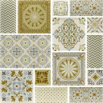 ink jet fabric effect glass Mosaic Tile