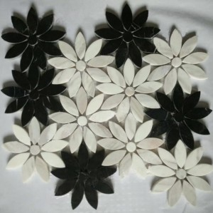 Flower Marble Mosaic,Nero Marquina Black&China white