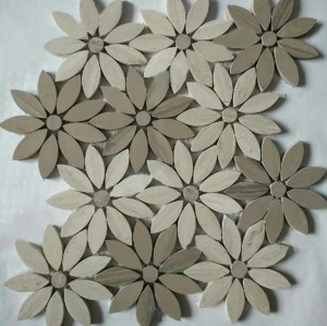 Flower marble Mosaic, Athens Grey& White wood