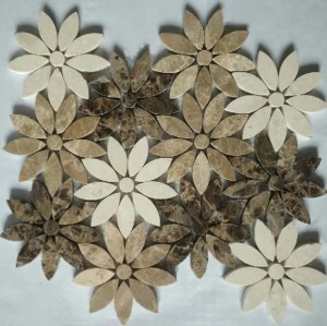 Emperador dark&cream marfil& Athens Grey Flower Marble Mosaic