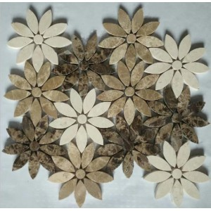Emperador dark&cream marfil& Athens Grey Flower Marble Mosaic