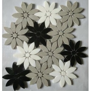 Black&White&Gray color mix Flower Marble mosaic
