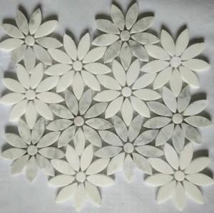 Carrara White&Thassos White Flower Marble Mosaic