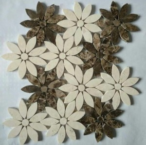 Flower Cream and Emperador Dark Marble Mosaic