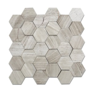 12''x 12'' White Oak Hexagon Marble Mosaic,Seamless
