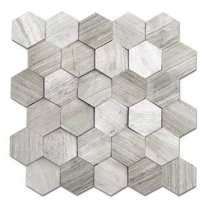 12''x 12'' Wooden Beige Hexagon Marble Mosaic