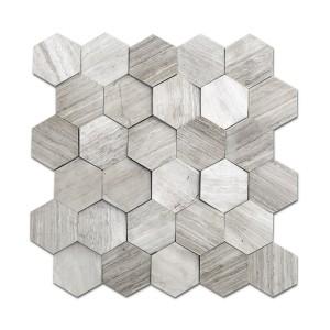 12''x 12'' Wooden Beige Hexagon Marble Mosaic