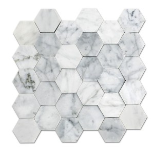 12''x 12'' Bianco Carrara Hexagon Marble Mosaic seamless