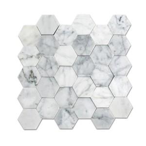 12''x 12'' Bianco Carrara Hexagon Marble Mosaic seamless