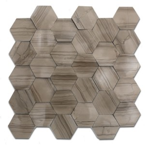 12''x 12'' Athena Grey Hexagon Marble Mosaic