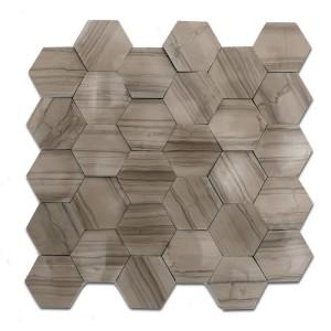 12''x 12'' Athena Grey Hexagon Marble Mosaic